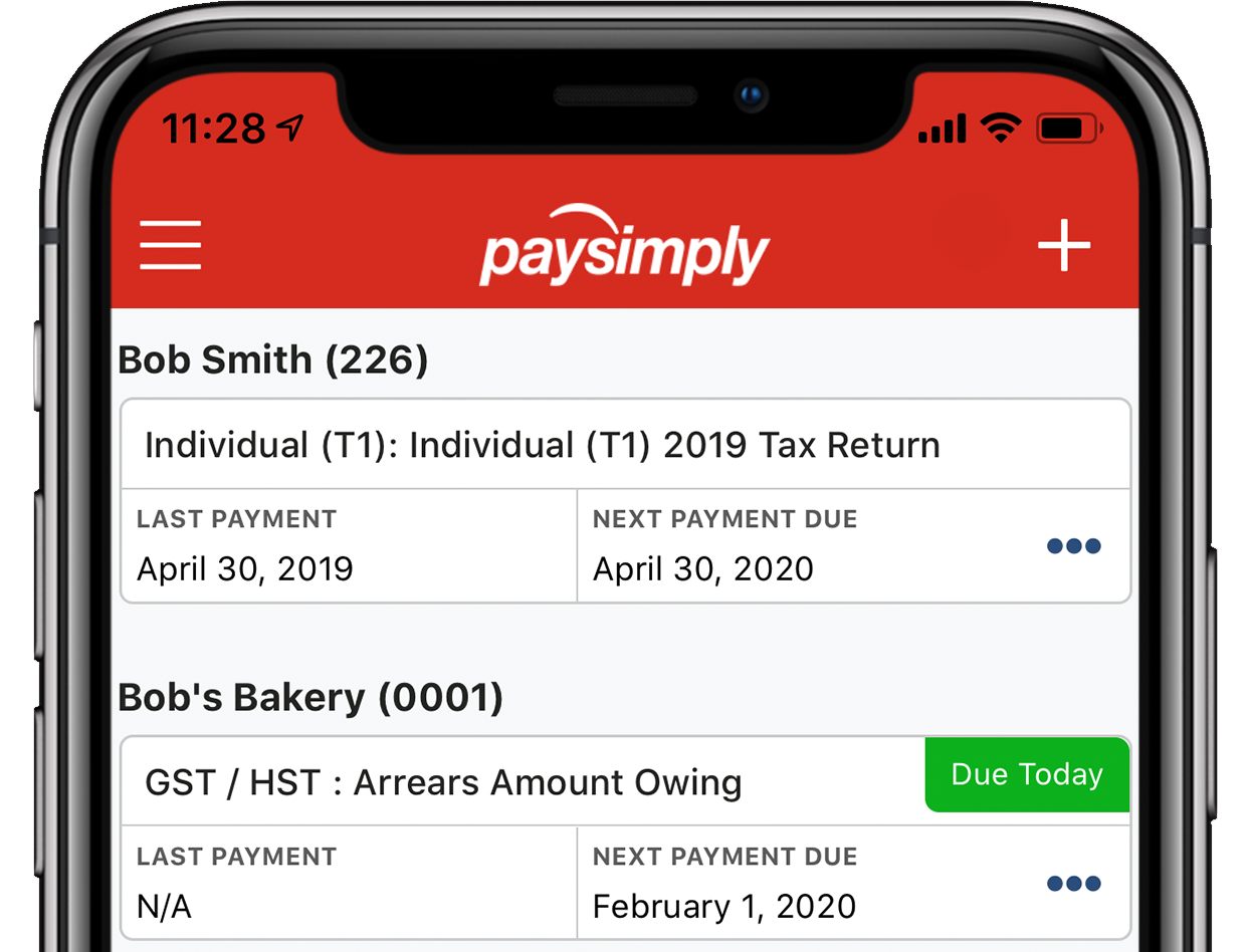 Dashboard on the PaySimply mobile app