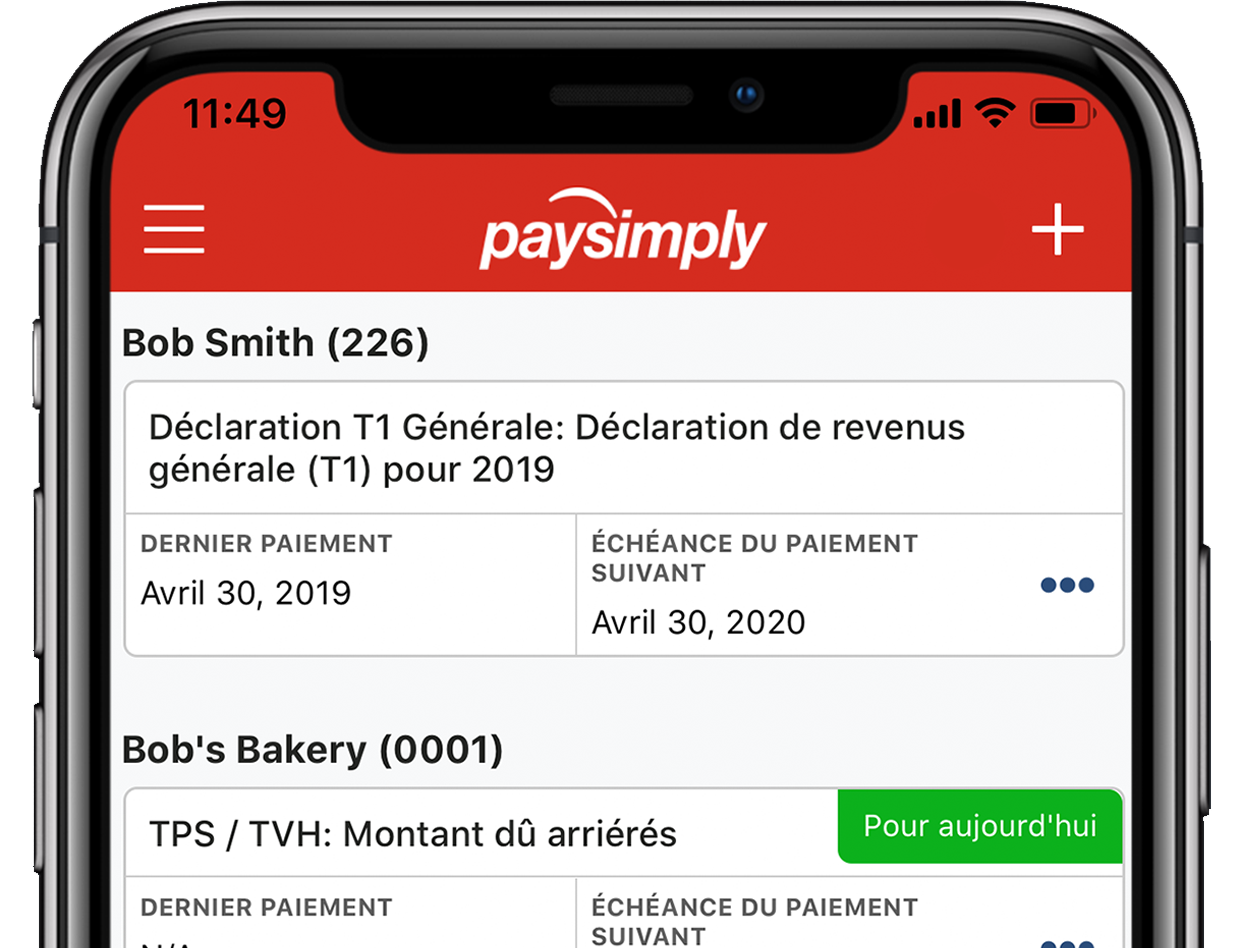 Tableau de bord sur l'application mobile PaySimply