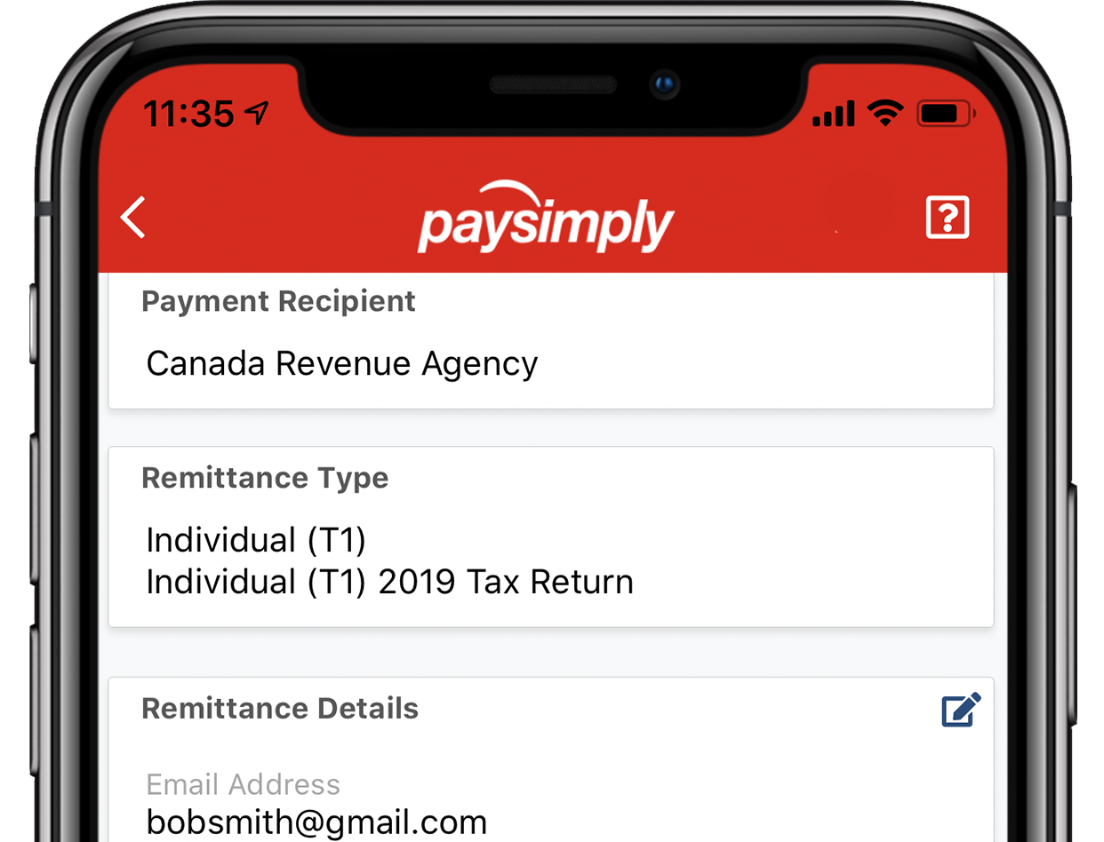Credit card payment on the PaySimply mobile app