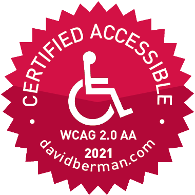 WCAG 2.0 Level AA 2020 certification by David Berman Communication badge